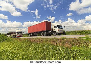 kék ég, csereüzlet, piros, alatt, autóút