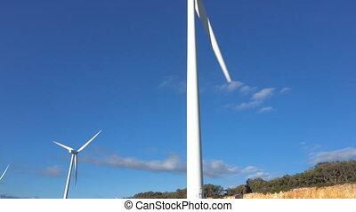 kék ég, energia, turbines, production., ökológiai, háttér,...