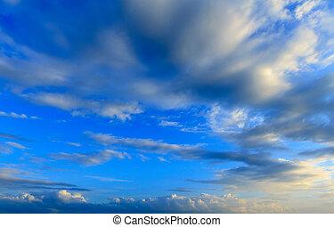 kék ég, háttér, -ban, hajnalodik