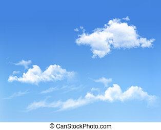kék ég, noha, clouds., vektor, háttér