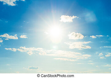 kék ég, noha, elhomályosul, és, sun.