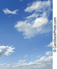 kék ég, noha, néhány, gomolyfelhő, fehér, clouds.