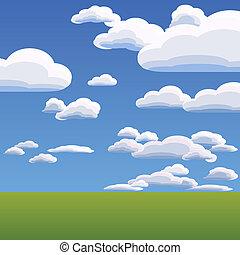 kék ég, vektor, elhomályosul