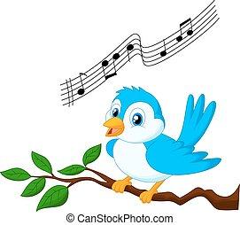 kék, énekesmadár, karikatúra