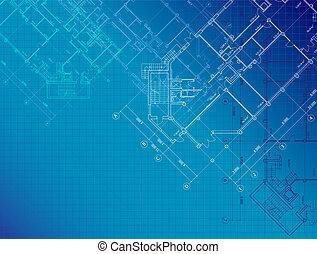 kék, építészeti, háttér, alaprajzok