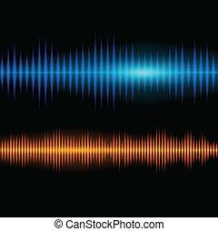 kék, és, narancs, fényes, hangzik, waveform, háttér