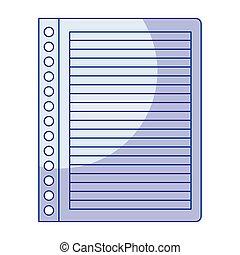 kék, ív, tiszta, jegyzetfüzet, árnyékolás, árnykép, csíkos