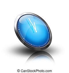 kék, óra, ikon