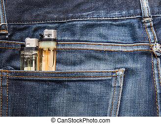kék, öngyújtó, cajgvászon jeans, struktúra, cigaretta, lighter), (focus