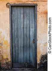 kék, öreg, fal, épület, sárga ajtó
