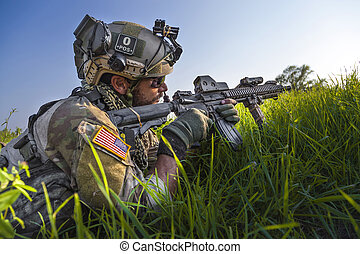 kék, övé, ég, katona, amerikai, háttér, karabély, célzás