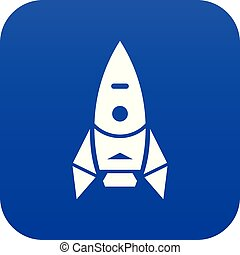 kék, űrhajó, vektor, rakéta, ikon