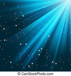 kék, 8, fénylő, eps, rays.