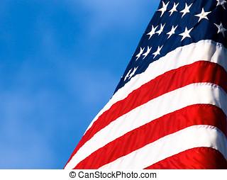kék, amerikai, ég, lobogó, clouseup