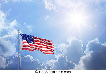kék, amerikai, ég, lobogó, ellen