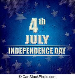 kék, -, amerikai, 4, retro, július, transzparens, nap, szabadság