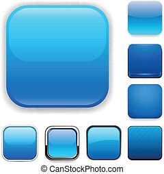 kék, app, derékszögben, icons.