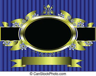 kék, arany, tervezés, háttér, virágos, csíkos