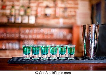 kék, bár, kuraszó, koktél, alkoholista, shots