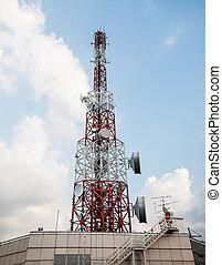 kék, bástya, ég, telecommunications, háttér
