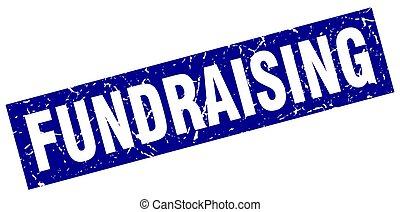 kék, bélyeg, derékszögben, grunge, fundraising