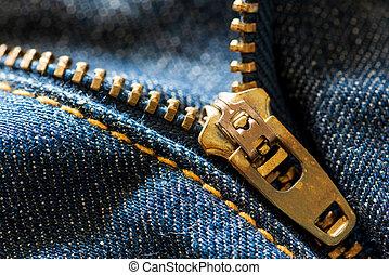 kék, becsuk, cipzár, feláll, farmernadrág