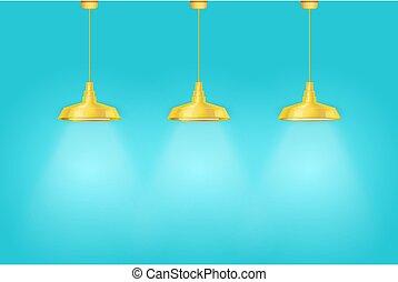 kék, belső, szüret, sárga, közfal lámpa