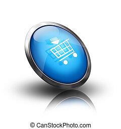 kék, bevásárlókocsi, ikon