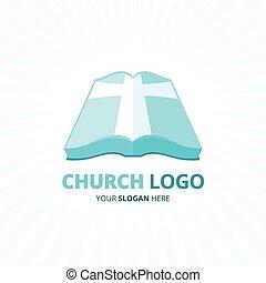 kék, biblia, keresztény, illustration., kereszt, vektor, templom, jel, icon.
