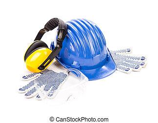 kék, biztonság sisak, noha, earphones.