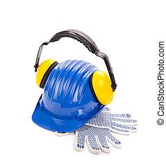 kék, biztonság sisak, noha, fülhallgató