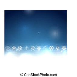 kék, bokeh, karácsony, háttér, hópehely
