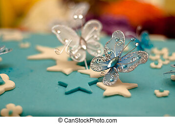 kék, boldog születésnapot, torta, noha, csecsemő
