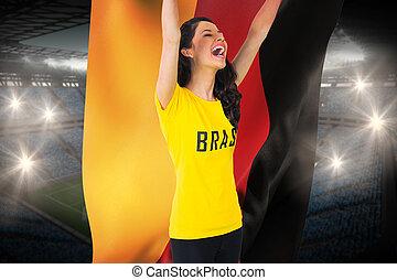 kék, brasil, labdarúgás, lobogó, ellen, nagy, rajongó,...