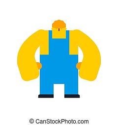 kék, builder., sisak, munka, arms., szerkesztés, worker., overall, erős, karikatúra
