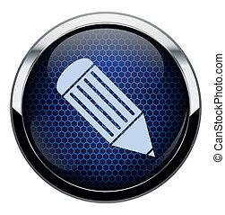 kék, ceruza, átlyuggatott díszítés, ikon