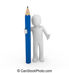 kék, ceruza, emberi, 3