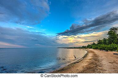 kék, chesapeake, kócsag, öböl, naplemente tengerpart