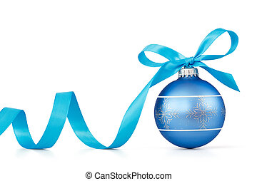 kék, christmas labda