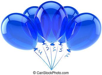 kék, cián, fél, születésnap, léggömb