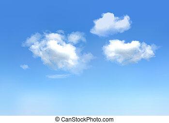 kék, clouds., ég, vektor