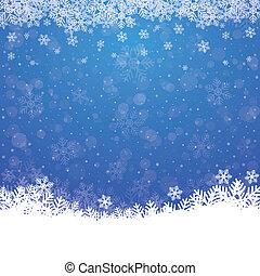 kék, csillaggal díszít, hó, háttér, bukás, fehér