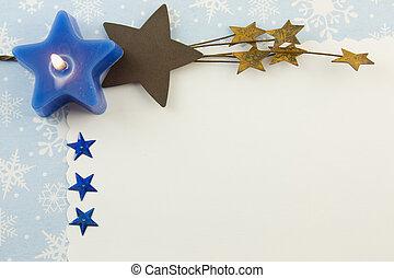 kék, csillaggal díszít, karácsonyi üdvözlőlap, tiszta