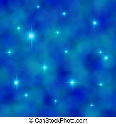 kék, csillogás, ég, csillaggal díszít, felhős