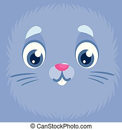kék, csinos, arc, avatar, üregi nyúl, nyuszi, karikatúra