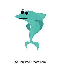 kék, csinos, cápa, furcsa, betű, fish, ábra, barátságos, vektor, karikatúra