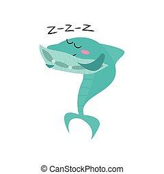 kék, csinos, cápa, furcsa, fish, betű, ábra, alvás, vektor, karikatúra