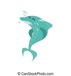 kék, csinos, cápa, furcsa, fish, betű, ábra, víz, loccsan, vektor, karikatúra