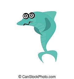 kék, csinos, cápa, szédülő, furcsa, fish, betű, ábra, forgó, vektor, szemek, karikatúra