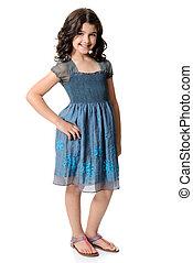 kék, csinos, kevés, ruha, leány
